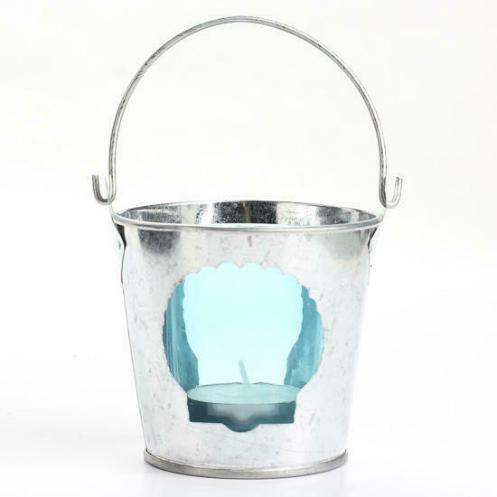 Set of 6-galvanized Metal Pails with Removable Colored Glass Votive Holder