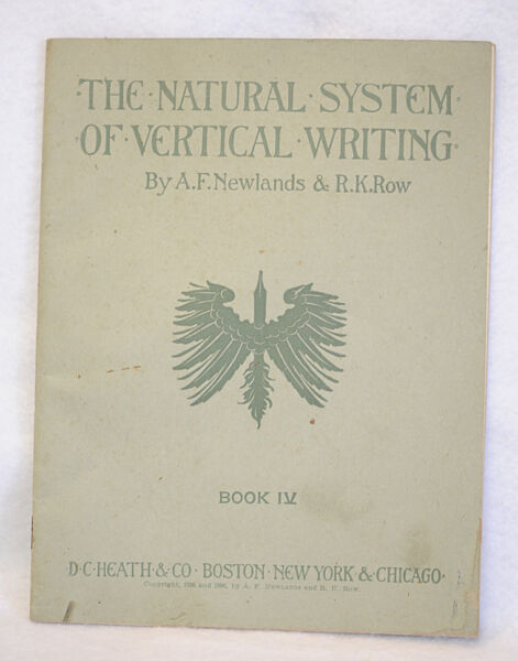 The Natural System of Vertical Writing Book IV Workbook 1896 By Newlands amp; Row $8.99