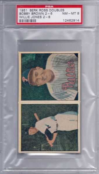 1951 Berk Ross Doubles 2-6; 2-8 Brown - Jones PSA 8