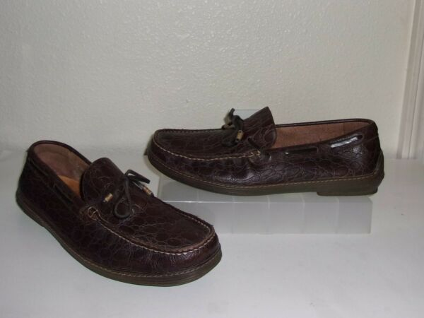 Mens Izod Brown Croc Leather Driving Moccasins Size 12 Shoes Slip On Loafers