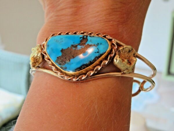 14K GOLD & NATURAL GOLD NUGGETS CUSTOM TURQUOISE CUFF BRACELET RARE FIND