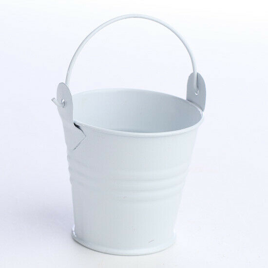 Mini White Metal Pails - Package of 12 White Buckets