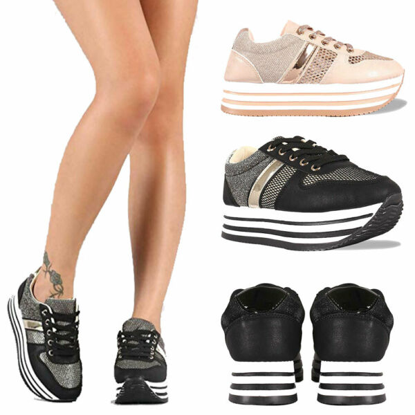 Women's Thick-Soled Platform Breathable Mesh Flat Walking Shoes Fashion Sneakers