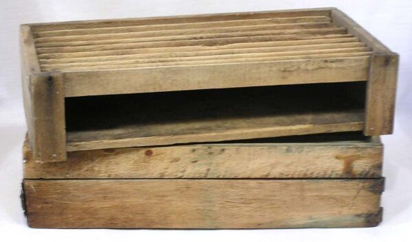 Vintage Pair of Wood Boxes with Long Grooves and A Swing Out Drawer 12quot; X 6quot;
