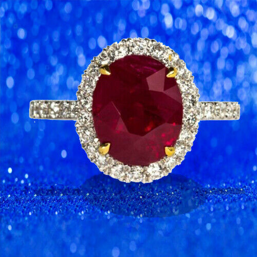 Ruby oval shape 5.02 ct and diamond ring 18 k white gold