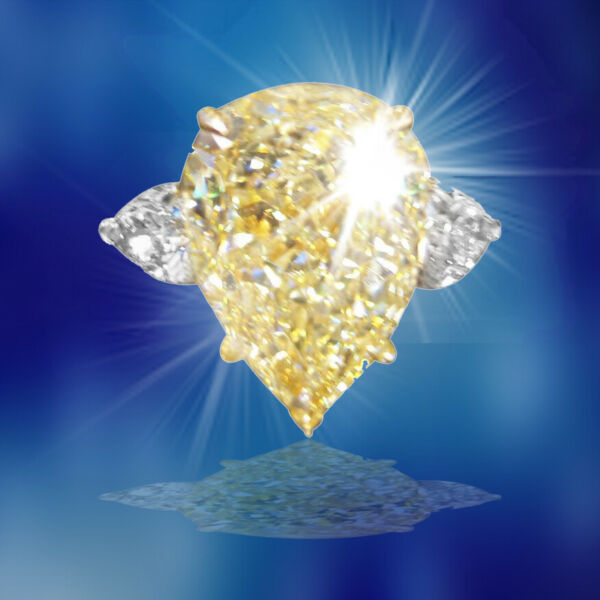 GIA CERTIFIED FANCY LIGHT YELLOW PEAR SHAPE SI2 SIDE PEAR ENGAGEMENT RING