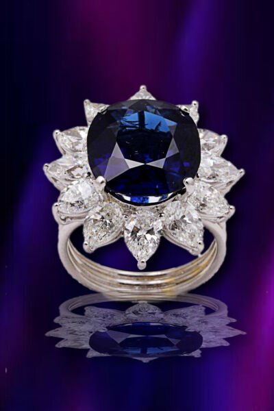 Natural Burma No Heat Blue Sapphire Ring 9.73 ct cushion