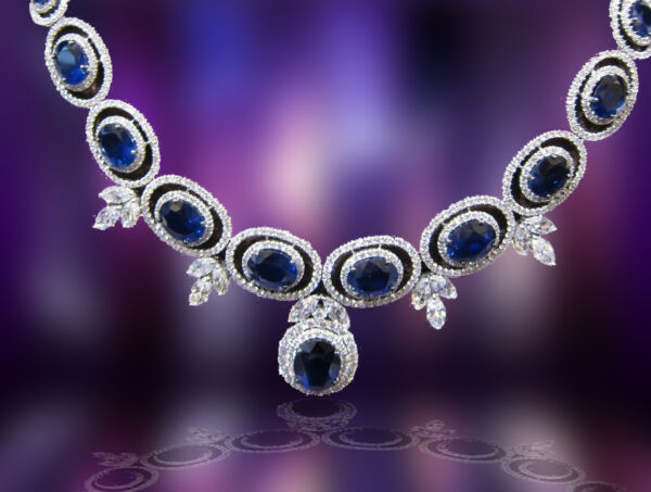 SAPPHIRE OVAL SHAPE ALL GEMSTONE NECKLACE DIAMOND ROUND MARQUISE SET NECKLACE