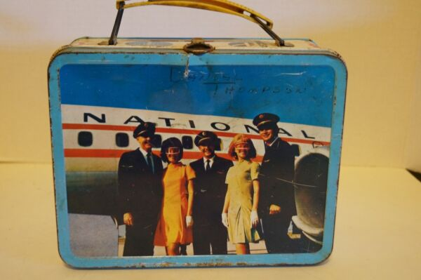 Vtg Ohio Art Tin Lunchbox Pail Airline Theme Pan Am Continental United Lufthansa