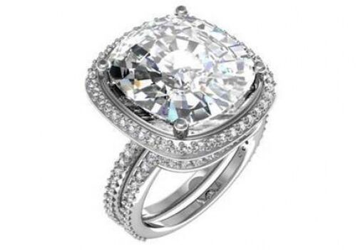 10.8 ct I VS2 cushion natural diamond engagement wedding ring set platinum sale