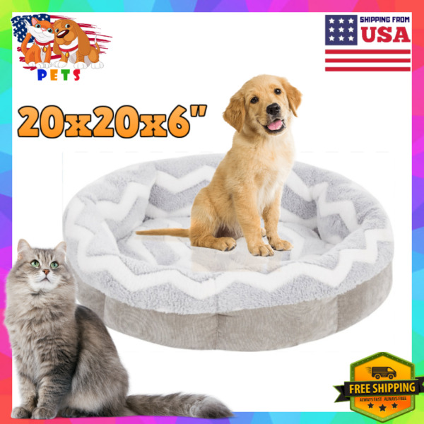 Luxury Small Medium Cat Dog Bed Round Soft Plush Pet Sofa Machine Washable US $29.90