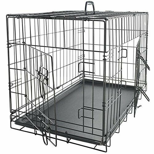24quot; Dog Crate Folding Wire Metal Cage Kennel With Removable Tray Pan $25.21