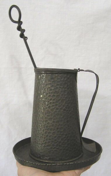 Vintage Arts & Crafts Signed Mayflower Fireplace Igniter Tankard with Underplate