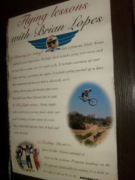 Rare BRIAN LOPES BICYCLE FLYING LESSONS PROMO MONGOOSE MOUNTAIN BIKE POSTER $29.88