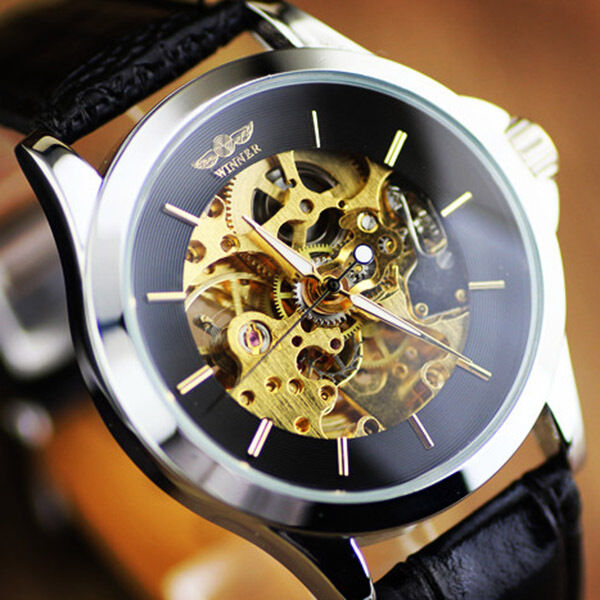Winner Concise Elegant Men Durable Automatic mechanical wrist watch Round Dial