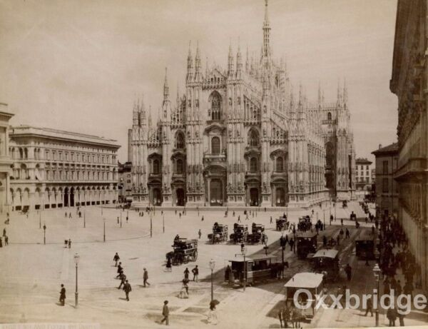Milan Italy 1880 Piazza del Duomo 1880 Carriages For Hire Horse Buggy Bourghams