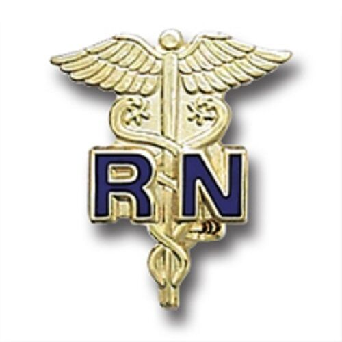 Blue RN Emblem Pin Registered Nurse Gold Plated Medical Collar Caduceus New 801C