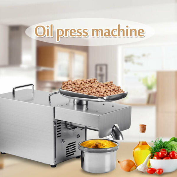 110V Automatic Small Oil Press Machine Stainless Steel Presser Cold Hot Press US