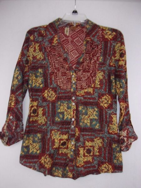 BKE Buckle Large Abstract Floral Sequined Button Front Rolled Sleeve Blouse $14.78