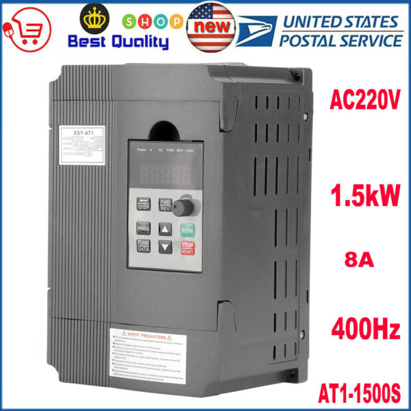 SINGLE PHASE VARIABLE FREQUENCY DRIVE INVERTER VFD 1.5KW 3HP 8A FOR CNC US STOCK