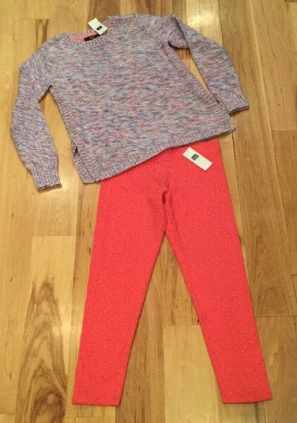 Gap Kids Girl Large 10 11 Outfit. Purple Sweater amp; Pink amp; Silver Leggings. Nwt $20.99