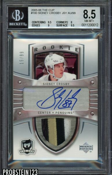 ALTERED 2005-06 UD The Cup Sidney Crosby RPA RC Rookie Patch AUTO 99 BGS 8.5