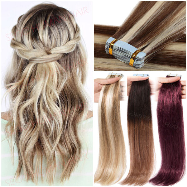 Tape in Real Virgin Human Hair Extensions Skin Weft 60 Pieces Straight Full Head