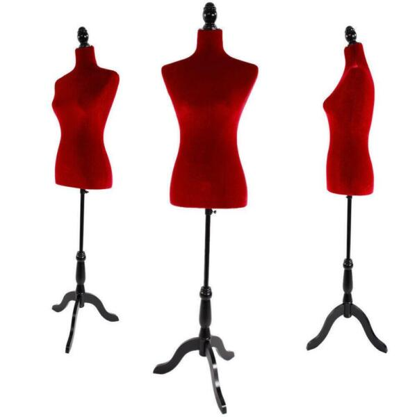 New Female Mannequin Torso Dress Form Display w Adjustable Tripod Stand Red US