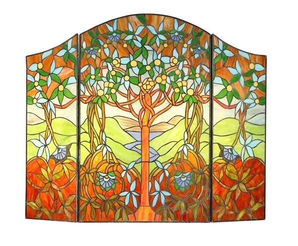 TIFFANY STAINED GLASS FIREPLACE SCREEN * GARDEN OF EDEN * TREE OF LIFE * FRUIT