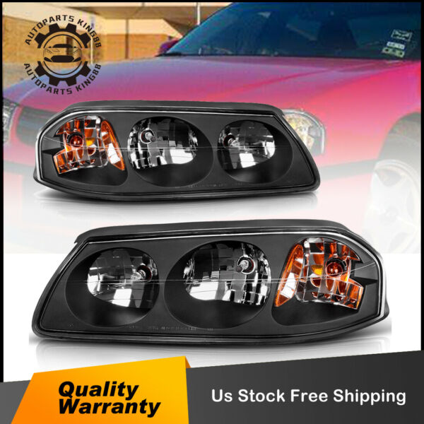 FOR 2000-2005 CHEVY IMPALA PAIR BLACK AMBER TURN SIGNAL HEADLIGHTLAMP ASSEMBLY