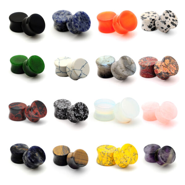Pair of Double Flare Stone Plugs gauges Choose Size Type