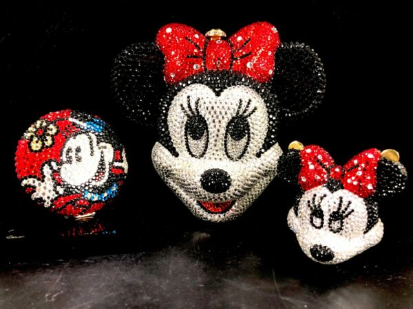 KATHRINE BAUMANN MINNIE MOUSE MINIAUDIERE EVENING BAG STRAP COMPACT PILL BOX SET