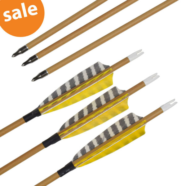 30quot; Wood Carbon Arrows SP500 Feather Field Point Archery Target Shooting Game 6X $46.05