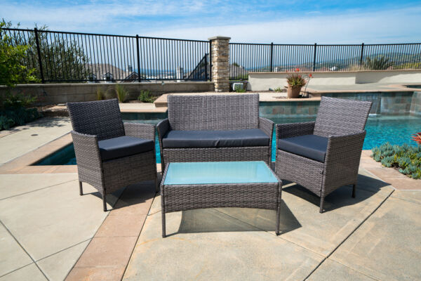 4pc Patio Furniture Set PE Wicker Cushioned Outdoor Rattan Sofa Deck Lawn Garden $239.99