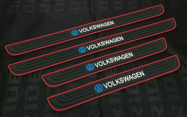 4PCS Black Rubber Car Door Scuff Sill Cover Panel Step Protector For Volkswagen