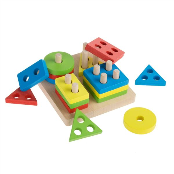Baby Toddler Kids Puzzle Early Learning Toy Wood Colors Shapes Pegs Educational $11.99