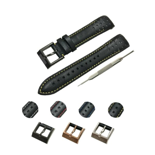 Fits For Seiko Sportura Watches 21mm Black(4 Colors) Genuine Leather Watch Strap