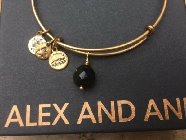 RARE ALEX and ANI Jet BLACK OONA Drop Charm BEADED BANGLE Gold BRACELET 💎