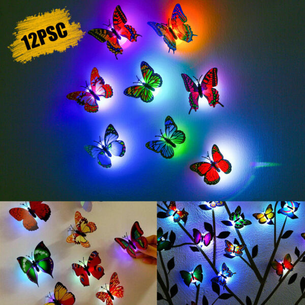 12Pcs 3D Butterfly LED Wall Stickers Glowing Bedroom DIY Home Decor Night light $11.48