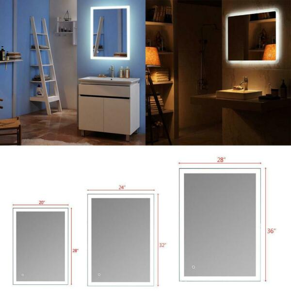 Large LED Touch Lighted Bathroom Vanity Mirror Demist Antifog for Shaving Makeup