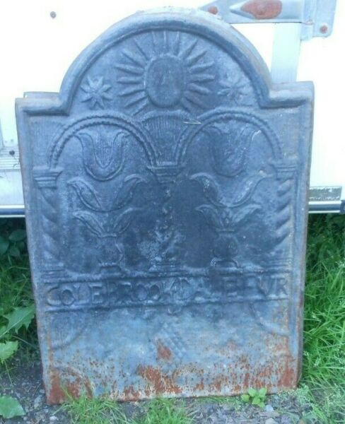 Antique Cast Iron Stove Plate Floral Colebrookdale Furnace Fireplace Fireback