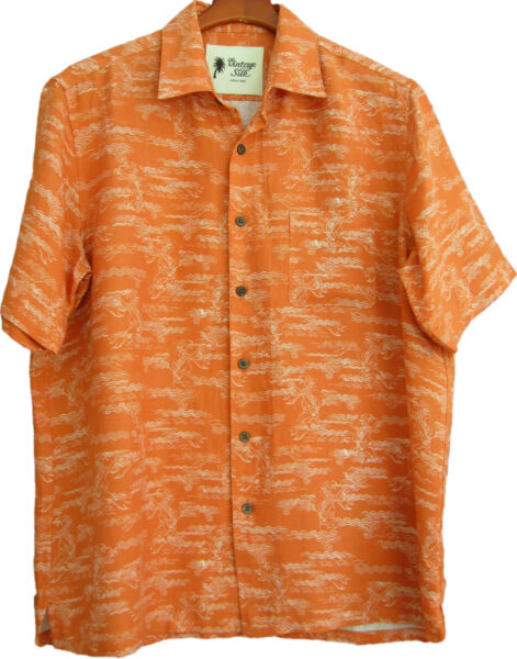 NWT Mens Vintage Silk Linen Hawaiian Shirt Koi Fish Aloha New Small amp; Medium $14.99
