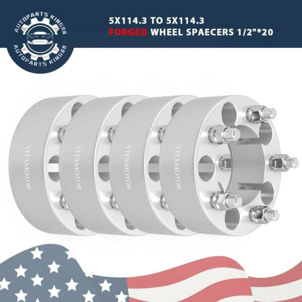 (4)1.25'' 5 Lug Hubcentric Wheel Spacers Adapters 5x4.75 for Chevy GMC Cadillac