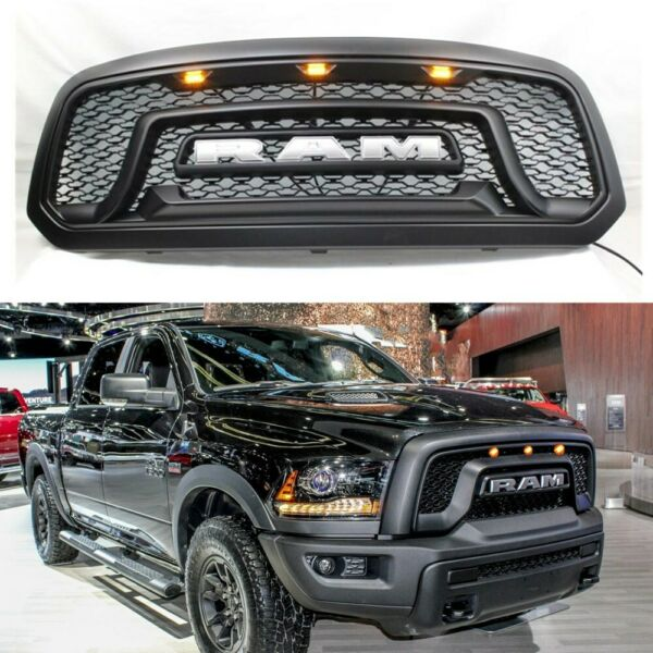Grille Grill For Dodge Ram 1500 2013-2018 2017 ABS Bumper Mesh Rebel Style Black
