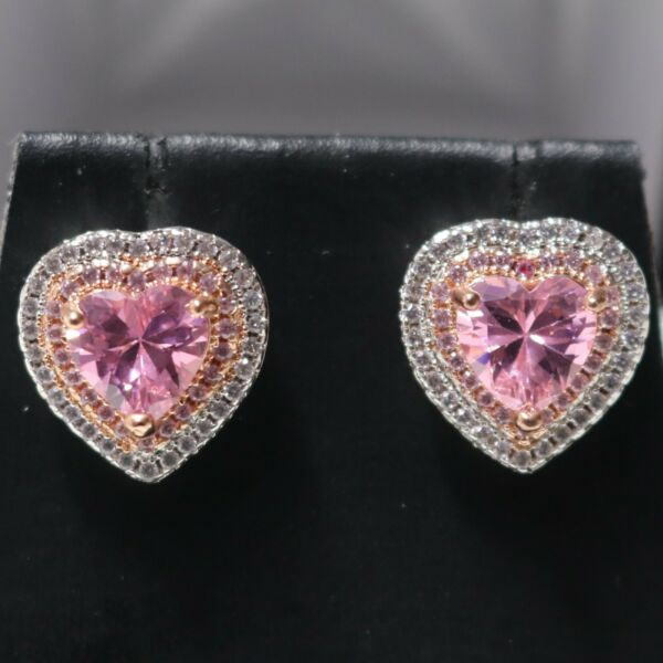 Pink Sapphire Moissanite Halo Earrings Women Wedding Engagement Jewelry Gift Box