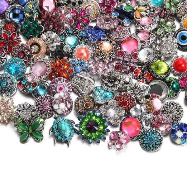 Wholesale 18mm Snap Button Multi Rhinestone Snap Charms For 20mm Snap Jewelry