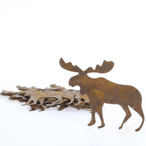 Rusted Tin Moose Cutouts - for Rustic Lodge and Holiday Decorations