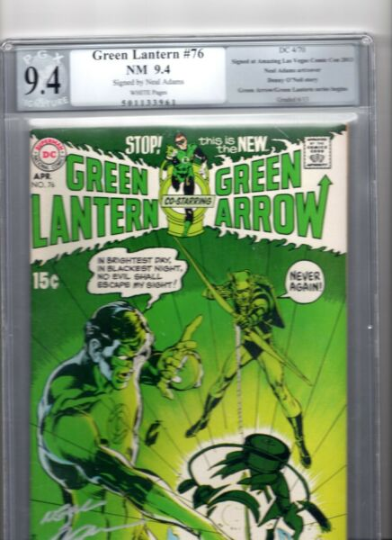 Green Lantern #76 1970 1st Neal Adams issue Neal Adams signature on cover; 9.