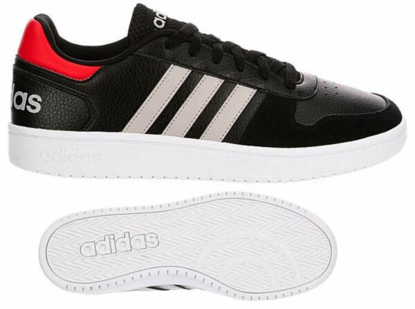 New ADIDAS Hoops 2.0 Classic Athletic Sneaker casual Mens black red all sizes