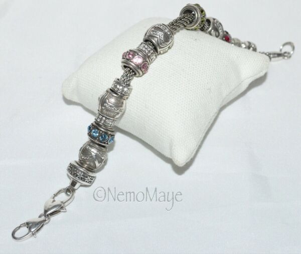 "BRIGHTON 8"" Bracelet With 16 European Slide Charms Double Clasp $55.00"